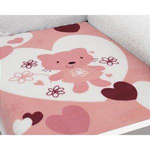 Cobertor para Berço Baby Soft Super Macio Love Gatinha Rosa