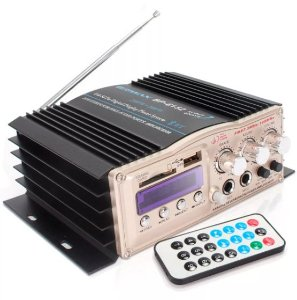 Amplificador Áudio Receiver 200W Bluetooth Som Ambiente e Carro