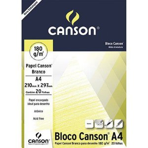 BLOCO A4 180GRS C/20FLS BRANCO CANSON