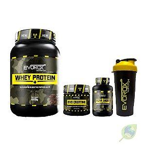 KIT Whey Protein + BCAA 2400 + Creatina + Coqueteleira - EVOROX