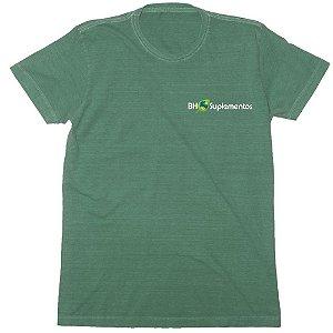 Camiseta Gola C Algodão Sustentável BH Suplementos Logo pequeno - GREENCO