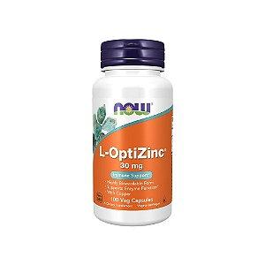 Zinco Quelato 30mg L-OptiZinc com Cobre 100 Cápsulas - NOW Foods