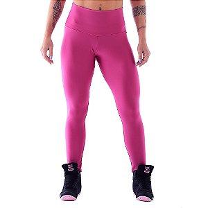 Legging Flower Pink / Calça Pink com Tecido Emana Liso / Cós alto