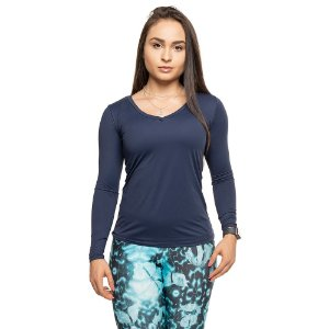 Blusa Tech Azul / Camiseta Manga Longa Dry Fit Azul Marinho