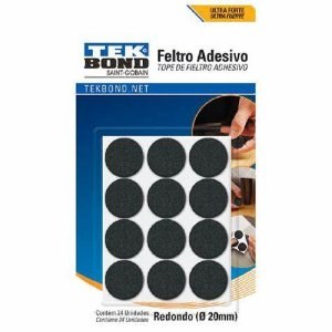 FELTRO ADESIVO REDONDO PRETO 20MM C/24 TEKBOND