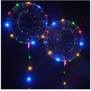 Balão Bubble C/ Led Colorido - C/1 Unidade Haste Colorida - Maricota Festas