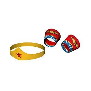 Bracelete e Tiara Mulher Maravilha C/8 Unidades. Maricota Festas