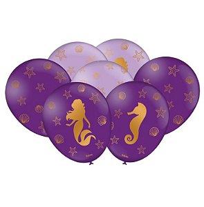 Balão Imperial Temático Sereia C/25 Unidades. Maricota Festas