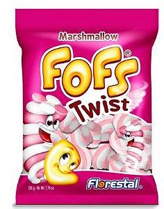 Marshmallow Torcido Recheado Rosa/Branco 220G - Maricota Festas