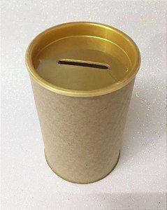 Cofrinho de Papelão Tampa Dourado Pérola 10x6 - Unidade. Maricota Festas