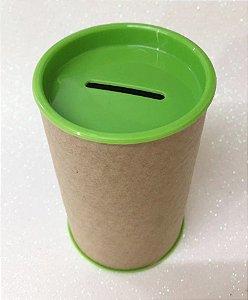 Cofrinho de Papelão Tampa Verde Pistache 10x6 - Unidade. Maricota Festas