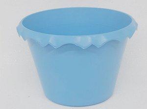 Cachepot Plastico C/ Borda Azul Claro - Unidade.