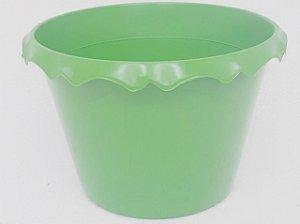 Cachepot Plastico C/ Borda Verde - Unidade. Maricota Festas