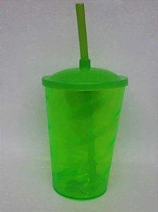 Copo Twister 400ml Tampa e Canudo Verde Unidade - Maricota Festas