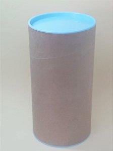 Tubo Lata Kraft 10x32 cm tampa plástica Azul Claro - ideal para garrafas