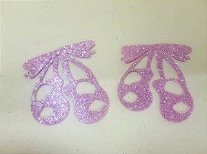 Aplique em EVA Sapatilha de Balé rosa claro - c/ 06Unid.  - Maricota Festas