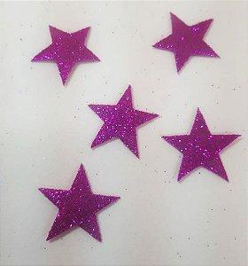 Aplique em EVA Estrela Pink - c/10 Unid.  - Maricota Festas