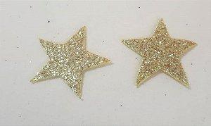 Aplique em EVA Estrela Dourada - c/10Unid.  - Maricota Festas