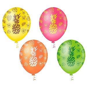 Balão ABACAXI SORTIDO PICPIC C/25 Unidades. Maricota Festas