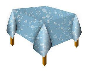 Toalha de Mesa Flocos de Neve Azul 80x80cm c/10 Unid. - Maricota Festas