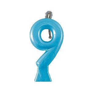 Velas Metalic do 0 ao 9 Azul - Maricota Festas