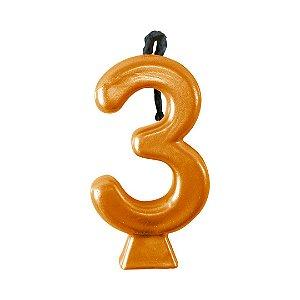 Velas Metalic do 0 ao 9 Dourado - Maricota Festas