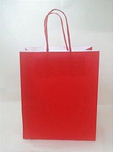 Sacola Kraft Vermelha 18x9x22cm c/10 Unid. - Maricota Festas