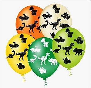 Balão DINOSSAUROS Sortido PICPIC 10'' c/25 Unid. - Maricota Festas