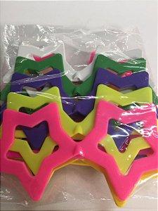 Óculos ESTRELA Pacote com 10 Unid. Colorido - Maricota Festas