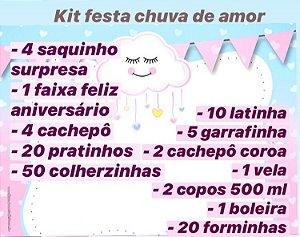 KIT FESTA C/120 PEÇAS CHUVA DE AMOR - MARICOTA FESTAS