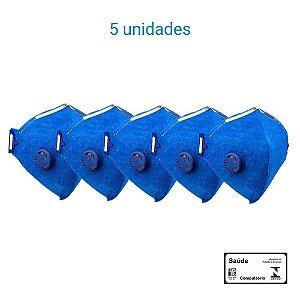 Máscara Respiratória PFF2 S Com Válvula - Prevenção Corona Vírus - Delta Plus CA 38503 - PACK COM 5 UNIDADES