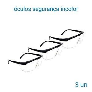 Óculos De Segurança Incolor Jaguar - 3 Unidades