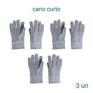 Luva De Raspa Couro Cano Curto - 3 Pares