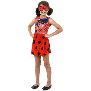 Fantasia Infantil Vestido Ladybug Faces Com Máscara