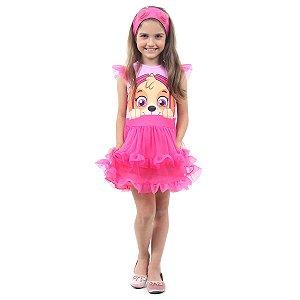 Fantasia Infantil Vestido Patrulha Canina Skye Faces Luxo