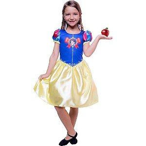 Fantasia Infantil Vestido Branca de Neve Curto