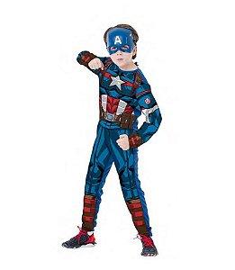 Fantasia Infantil Capitão América Macacão Longo Com Máscara