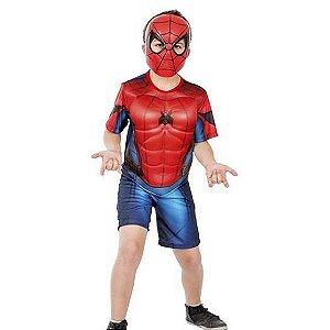 Fantasia Homem Aranha Infantil Curto Com Músculos E Máscara