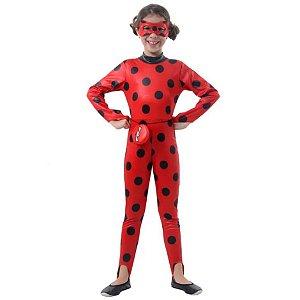 Fantasia Ladybug Infantil Macacão Com Máscara e Pochete