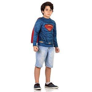 Fantasia Super Homem Infantil Camisa Com Capa E Musculatura