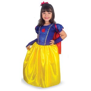Fantasia Vestido Branca De Neve Longo Infantil Com Luvas