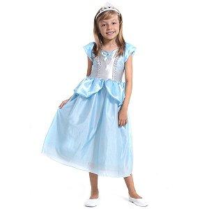 Fantasia Infantil Vestido Princesa Cinderela Com Tiara