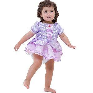 Fantasia Infantil Vestido Body Bebê Princesa Sofia