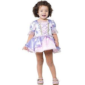 Fantasia Infantil Vestido Body Bebê Princesa Rapunzel