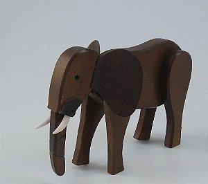 Elefante de Madeira Articulado Marrom
