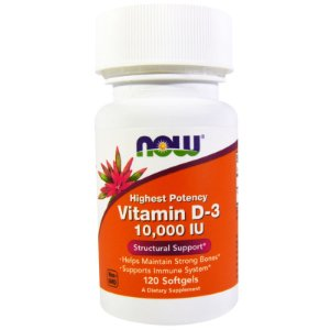 Vitamina D3 10.000 ui (120 Softgels) - Now Foods
