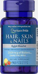 Hair Skin e Nails Fast Dissolve 90 Cápsulas Puritans Pride