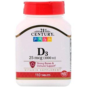 Vitamina D3 1000ui 110 Tabletes 21st Century