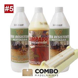 Combo 5 - Promocional - 2 litros de Cera para semi brilho (acetinado) + 1 litro do Limpador concentrado + 1 passa cera