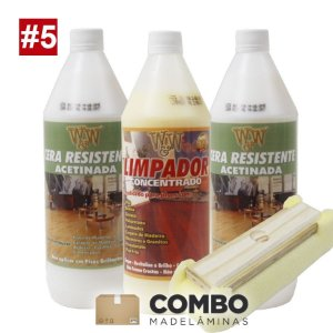 Combo - 2 litros de Cera para pisos semi-brilho (acetinado) + 1 litro do Limpador concentrado + brinde: 1 passa cera
